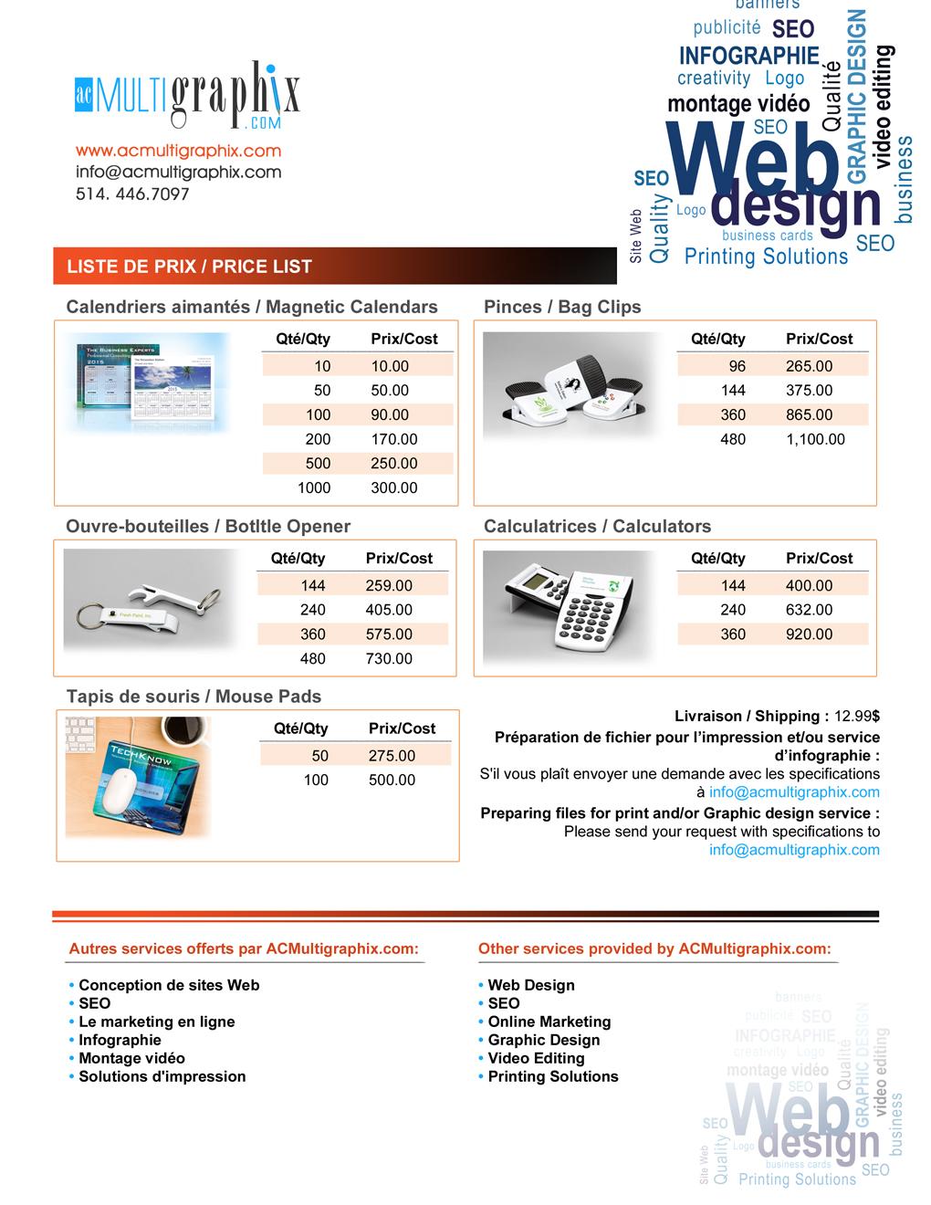 PriceList print design Promotion